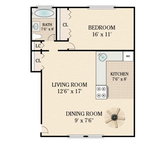 1 Bedroom 1 Bathroom. 600-650 sq. ft.