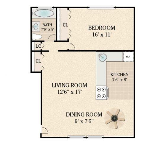 1 Bedroom 1 Bathroom. 600-650 sq. ft.