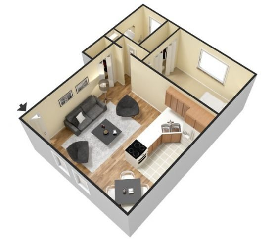3D 1 Bedroom 1 Bathroom. 600-650 sq. ft.